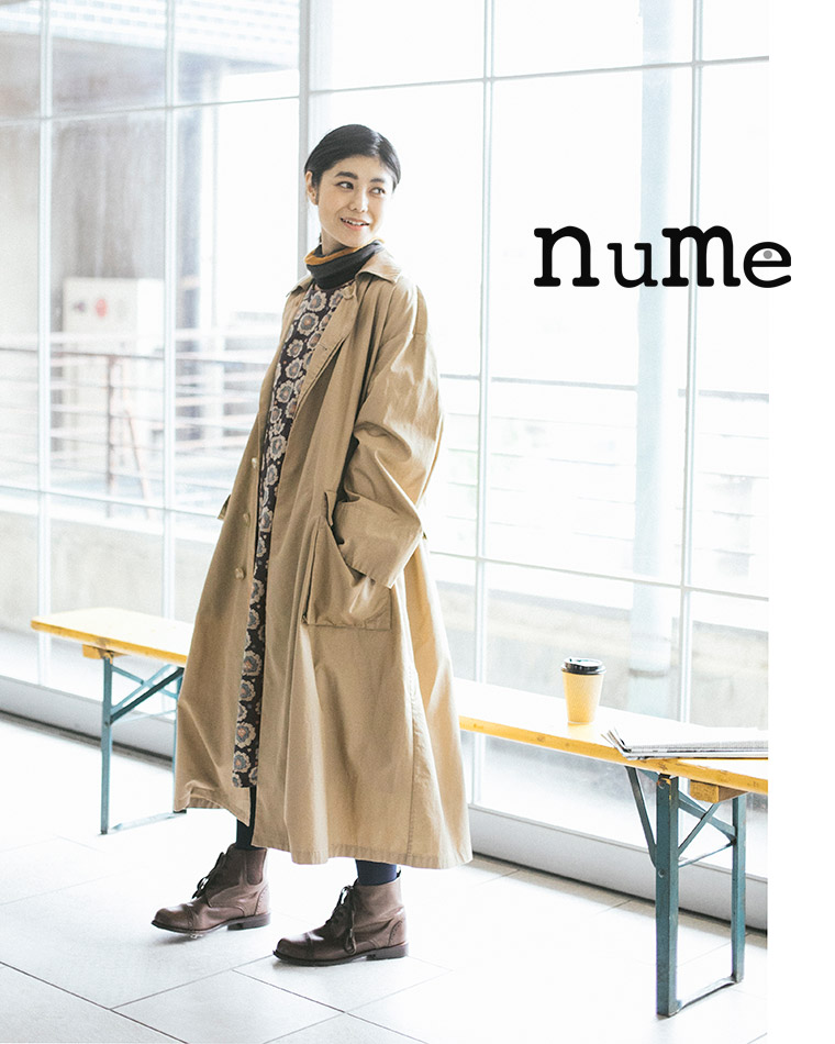 2ec687431e1df ヌメ革のようにたくさんの時間をかけて、美しく進化していく女性をイメージし、シンプルさの中に大人のスパイスを効かせた「nume」の服。
