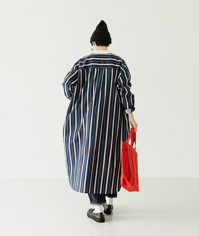 【Lintu Laulu】ヨーク切り替えマルチストライプシャツワンピース(B・ネイビー)