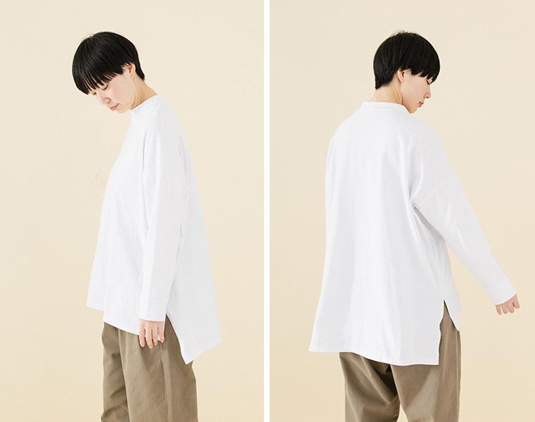 【Lintu Laulu】モックネック大人のゆったりTシャツ(A・オフホワイト)