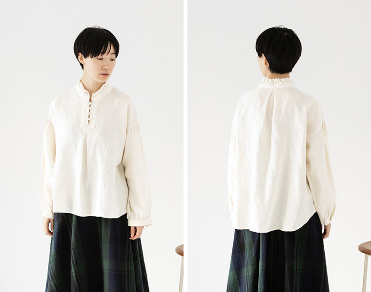 【Lintu Laulu】ピコフリル襟ブラウス