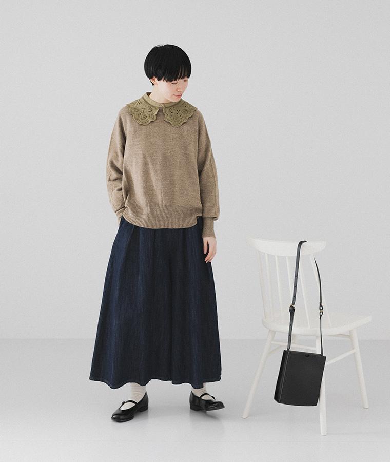 【Lintu Laulu】スカラップレース襟コットンブラウス(B・カーキ)
