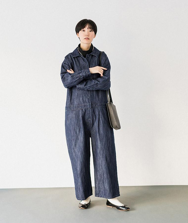 【Lintu Laulu】コットンリネンデニムジャンプスーツ(ワンウォッシュ)