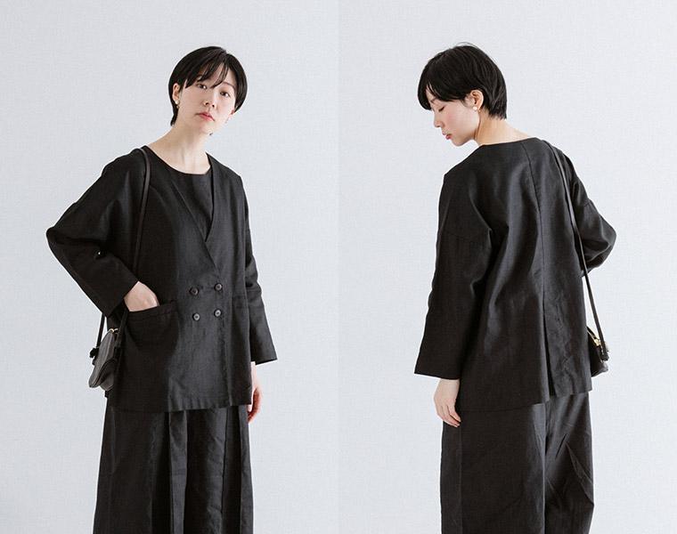 フロント&バックスタイル【&yarn】ヘリンボーンダブルボタンジャケット(ブラック)