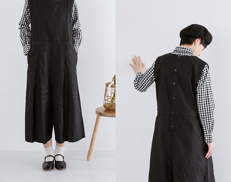 フロント&バックスタイル:【&yarn】ヘリンボーン切替タックサロペット(ブラック)