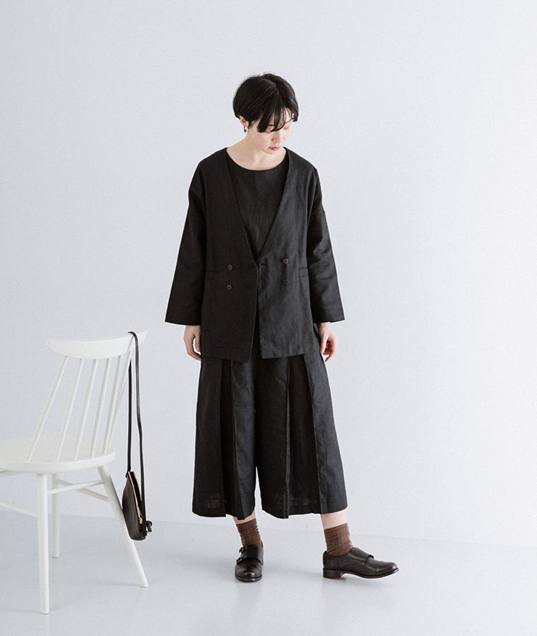 セットアップ:【&yarn】ヘリンボーンダブルボタンジャケット(ブラック)&【&yarn】ヘリンボーン切替タックサロペット(ブラック)