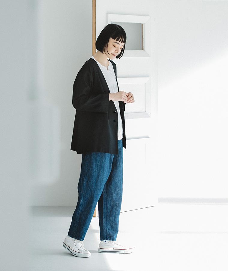 【&yarn】ヘリンボーンダブルボタンジャケット(ブラック)