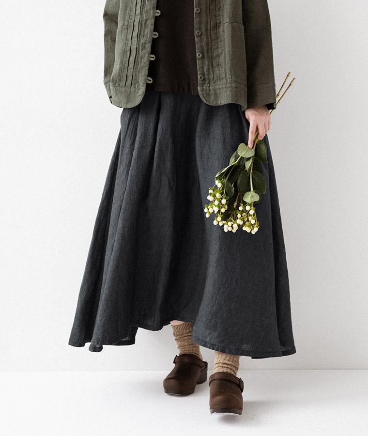 【&yarn】オリジナルベルギーリネンタックサーキュラースカート(A・マキシ丈 チャコールブルー)