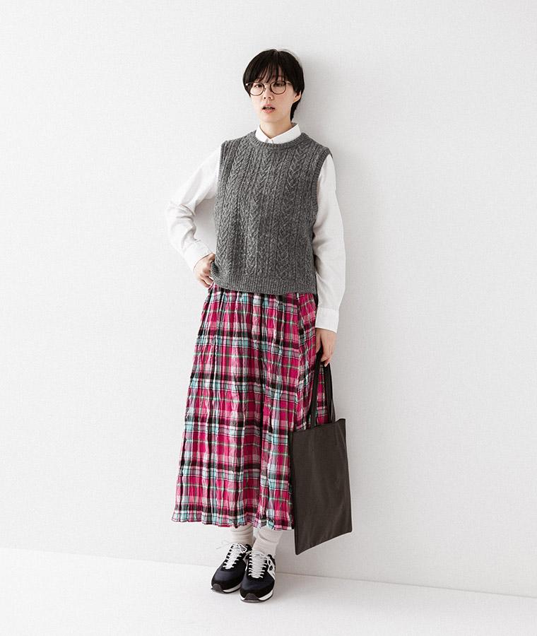 【&yarn】チェック柄クリンクルスカート(A・ピンク)