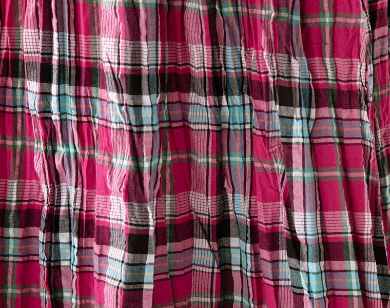 生地アップ:【&yarn】チェック柄クリンクルスカート(A・ピンク)
