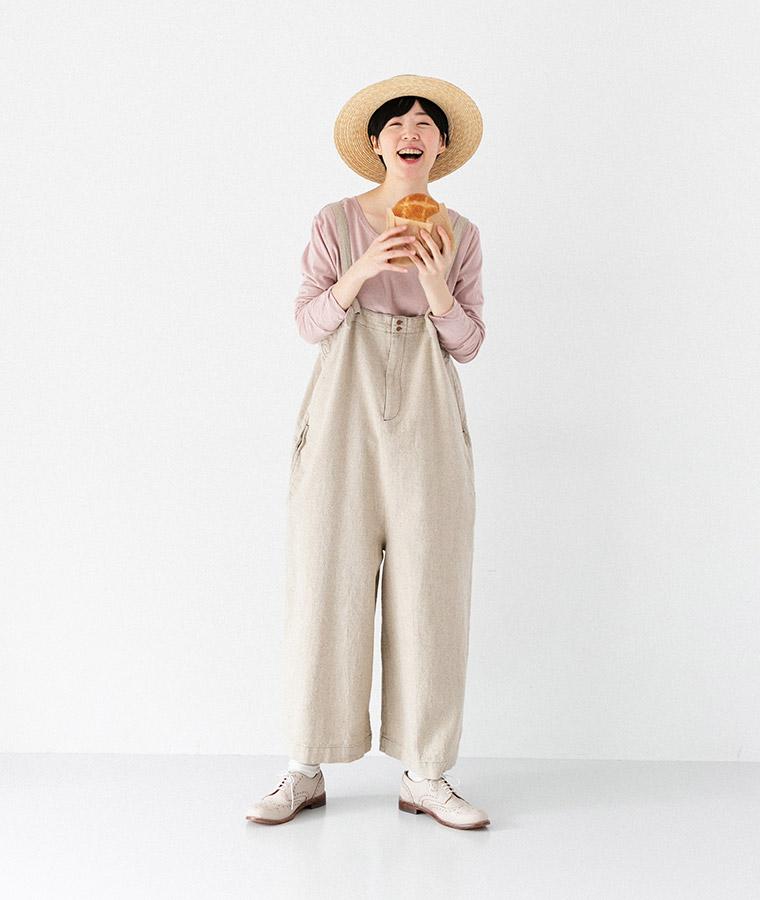 【Lintu Laulu】コットンリネンワイドサロペット(ナチュラル)