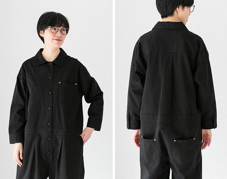 フロント&バックスタイル【Lintu Laulu】製品洗いコットンのジャンプスーツ(B・ブラック)