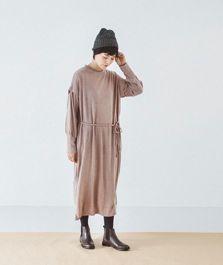レイヤードデザインニットドレス