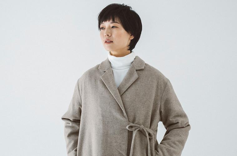 ヘリンボーンデザインコート 上半身