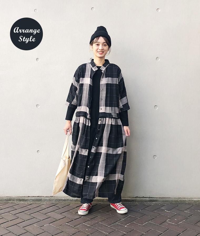 &yarn 3Wayチェックワンピース ブラック 秋冬アレンジ