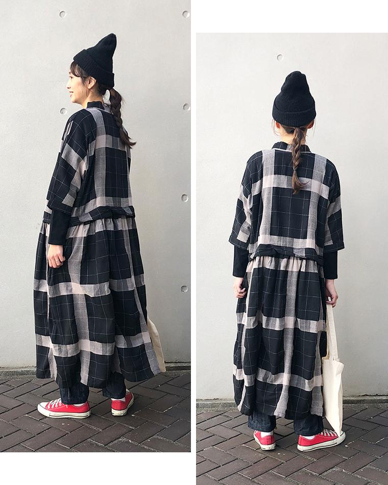 &yarn 3Wayチェックワンピース ブラック 秋冬アレンジ 横 後ろ