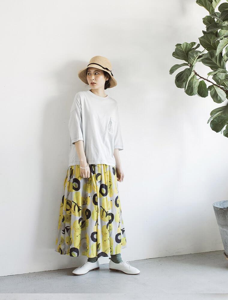 「踊る花の国」プリントコットンシフォンスカート