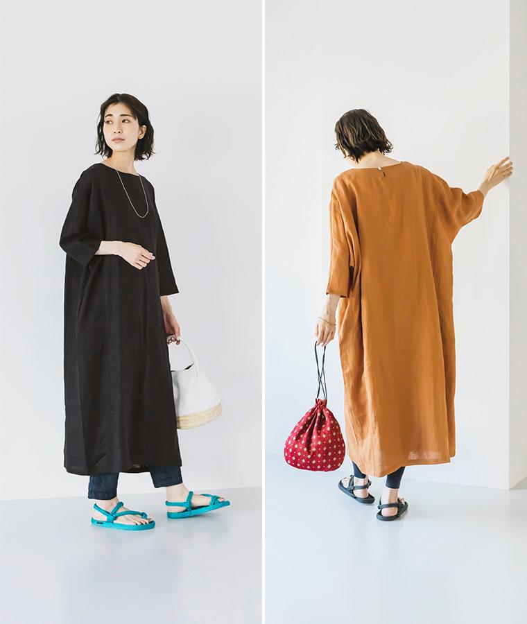 【 08Mab 】14番手リネンドルマンコクーンワンピース特集