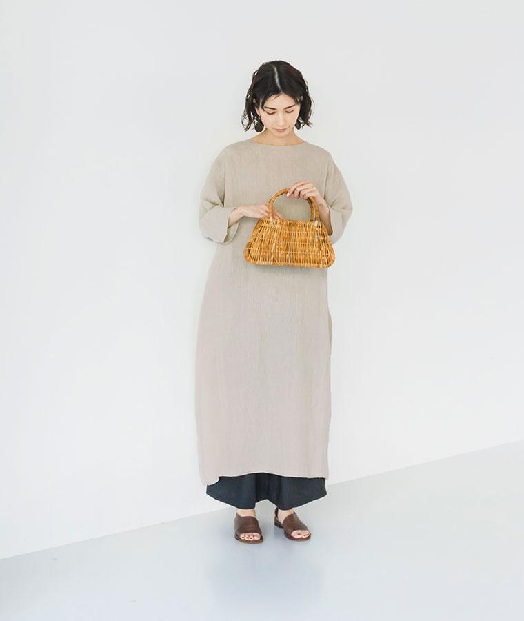 【 08Mab 】14番手リネンドルマンコクーンワンピース特集 スタイル1