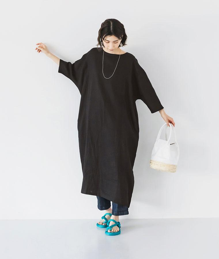 【 08Mab 】14番手リネンドルマンコクーンワンピース特集 スタイル3