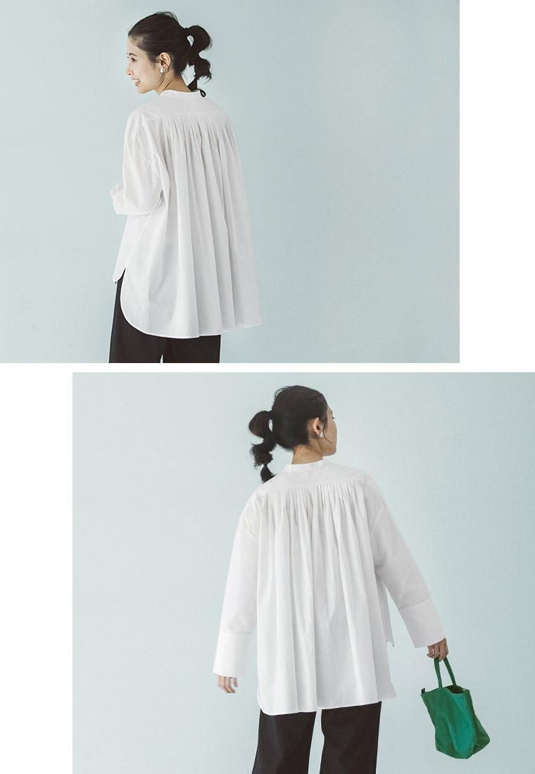 s.t.closet frabjous コットン ブラウス トラぺーズシャツ 台形 後ろ姿 タック シルエット