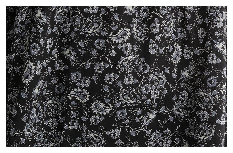 ichi 花柄 小花柄 フラワープリント ワンピース フリル襟 大人ワンピース シック ブラックカラー 別注ワンピース