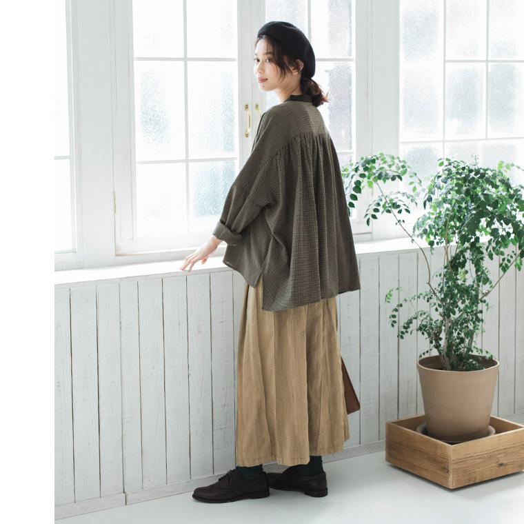 チェックのブラウス コットン素材のブラウス mashukashu マシュカシュ  秋の着こなし コットンリネンのスカート スカートスタイル