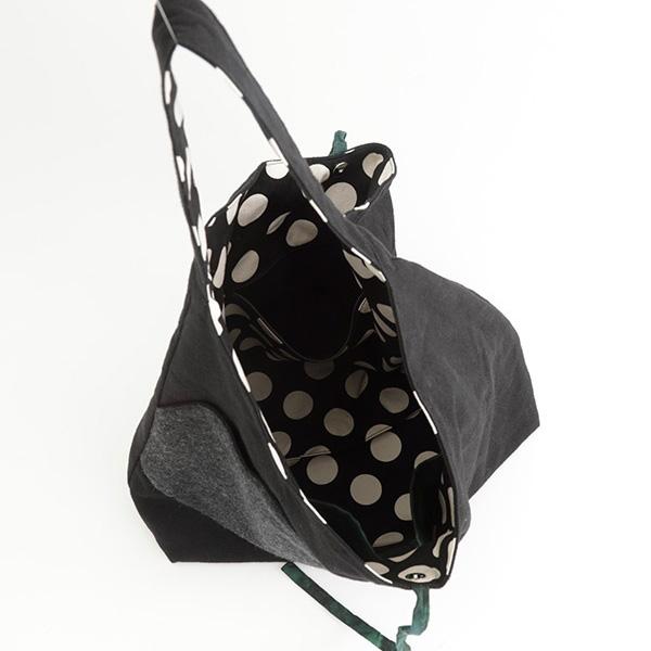 TOMOO(トモオ)/シャボン玉をイメージして作られたバッグ 黒 開いたところのアップ