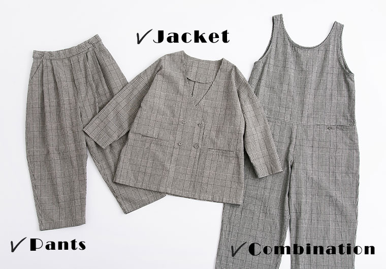 オリジナルグレンチェックのコンビネゾン、パンツ、ジャケット