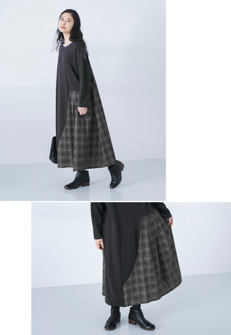 corail メランジ裏毛+チェック柄切替ワンピース チェックのワンピース ナチュラン サイド 裾アップ