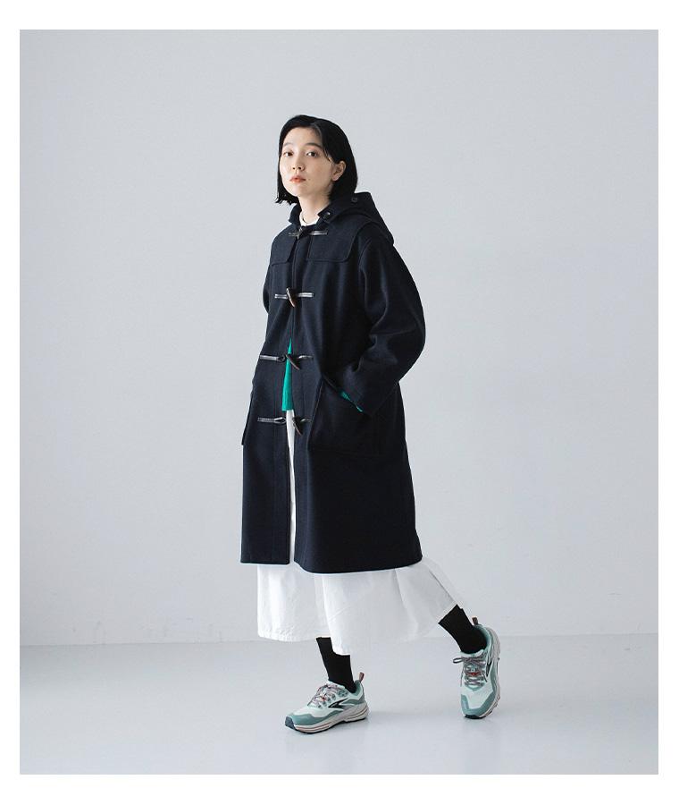ichi ニットとワンピースの着こなし ダッフルコート ナチュラン 白いワンピース